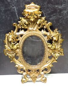 Antique Victorian Baroque Rococo Heavy Gilt Brass Picture Frame Leaves Shells
