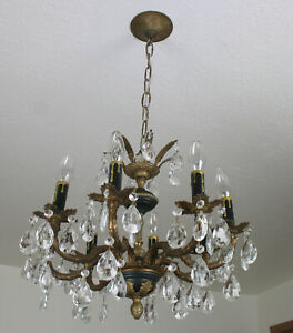 Exquisite Antique Vintage Eight Light French Brass Crystal Chandelier