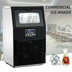Smad Commercial Ice Machine Ice Cube Maker 88 Lbs day Lcd Display Freestanding