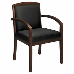 Leather Wood Guest Chair Black Mahogany Basyx Vl850 Chairs Guest Reception