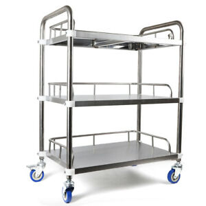 Hospital Lab Trolley 3 Layers Clinic Serving Cart Rolling Cart Stainless Steel