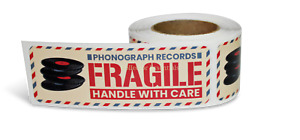 100 Fragile Phonograph Records Stickers For Vinyl Lp 45 Mailers Moving Boxes