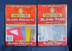 Day timer Refill Duo Blank Tabs Slash Pockets New Desk Size 5 5x8 5 3 Ring