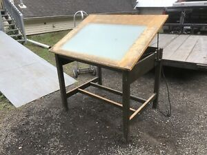 Vintage Hamilton Drafting Table With Lightbox Wood Base W tilting Wood Top