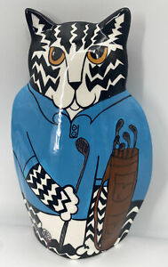 """Cats by Nina Lyman Large Cat Vase Hand Painted Golfer Golf Theme 9.5"""" Tall $24.00"""