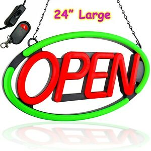 Large Open Led Neon Sign Bright For Restaurant Bar Store Subway Business Oval