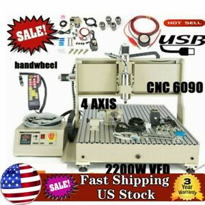 2 2kw Usb Cnc6090 Router Engraver 4 Axis Spindle Engraving Machine Controller
