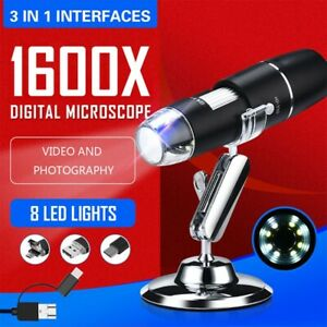 1600x Hd Portable 8 Led Light Adjustable Dimmer Practical Hand Held Microscope