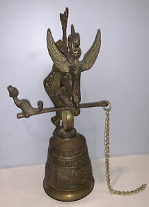 Antique Cast Brass Bell Door Knocker Wall Mounted Vocem Meam A Ovime Tangit Exc