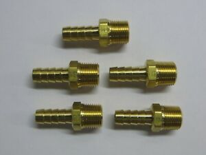 Lot Of 5 3 8 Npt Male X 3 8 Hose Barb Brass Fitting Parker New