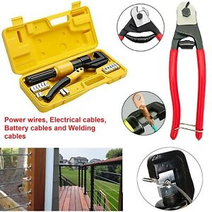 Cable Railing Kit Hydraulic Wire Rope Cable Lug Terminal Crimping Tool For Deck