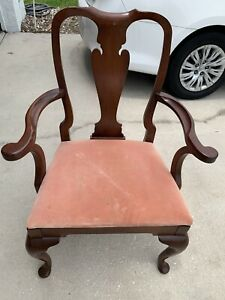 Hickory Chair Co Queen Anne Style Mahogany Armchair Rubberized Horse Hog Hair
