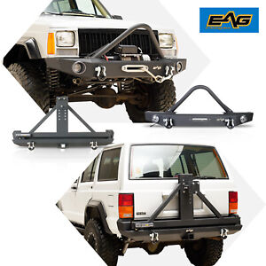 Eag Stinger Front Bumper Rear Bumper With Tire Carrier Fits 84 01 Cherokee Xj