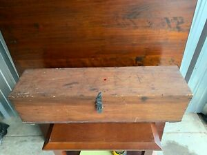 Vintage Antique Wooden Tool Box Caddy Tote Handmade Primitive Barn Find Toolbox