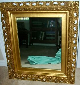Antique Large Ornate Gold Gilt Wood Gesso Wall Mirror Baroque Rococo Style