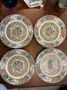 Antique Chinese Export Rose Medallion Canton 4 8 5 Plates Marked China