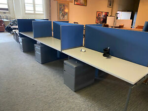 Lot Of 6 Benching Stations cubicles By Knoll
