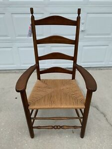 Antique Shaker Style Ladder Back Accent Chair Woven Seat
