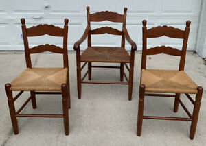 Set Of 3 Vintage Shaker Style Woven Ladder Back Accent Wood Chairs Rare