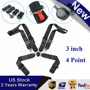 3 4 Point Black Camlock Quick Release Racing Seat Belt Harness For Racing Car