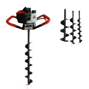 52cc 2 stroke Gasoline Earth Auger Post Fence Hole Digger W 4 6 8 Drill Bits