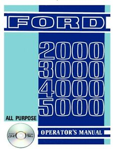 Ford 2000 3000 4000 5000 Tractor Owners Operators Manual Cd