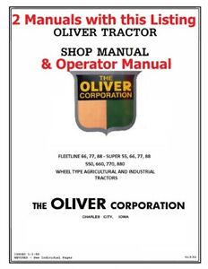 Oliver 550 Tractor Workshop Service Manaul Operator Maintenance Lube Manual