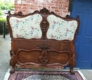 French Antique Carved Walnut Louis Xv Upholstered Queen Size Bed With Rails