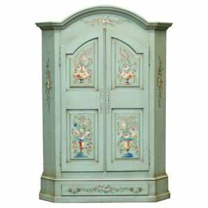 Vintage Hand Painted Blue 18th Century Style Wardrobe With Floral Detailing