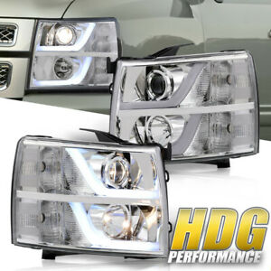 Clear Led Drl Tube Signal Reflector Headlights Lamps For 07 13 Chevy Silverado