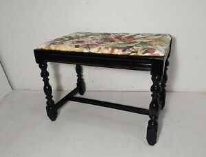 Vintage Victorian Style Turned Wood Floral Piano Vanity Seat Bench Stool