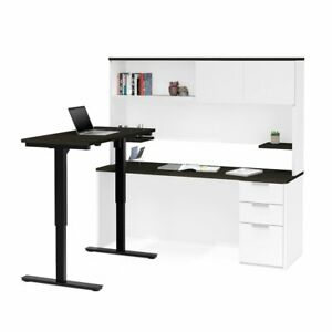 Pro concept Plus Height Adjustable L desk With Hutch In White Deep Grey