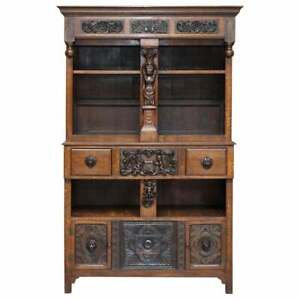 Large Heavily Carved Bookcase Cupboard With Ornate Cherub Putti Lion Figures