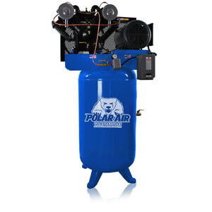 7 5 Hp Air Compressor Pressure Lubricated 2 Stage Single Phase V4 80 Gallon