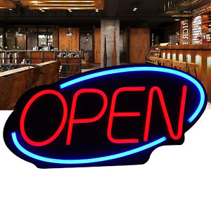 24 X 12 Large Flashing Led Neon Open Sign Light For Businesses Shops Blue Red
