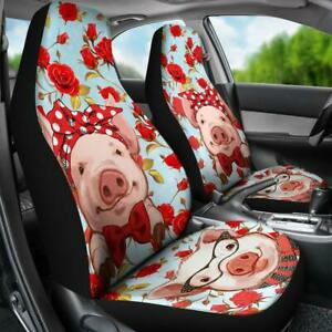 Pig Car Seat Covers Pig On A Rose Background Custom Seat Covers Custom Made Cov