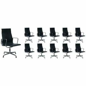 Rrp 34 000 1 Of 10 Vitra Eames Herman Miller Black Leather Swivel Office Chairs