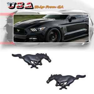 2pcs Metal Black Running Horse Pony Emblem Badge Stickers Decal For Ford Mustang