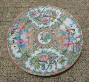 Antique Chinese Export Porcelain Plate Rose Medallion Canton Famille Rose 7 3 8