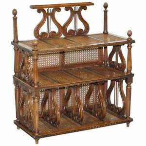 Lovely Musically Inspired French Walnut Etagere Bookcase Whatnot Berger Rattan