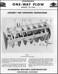 Ford Tractor One way Plow Model 10 200 Assembly And Operating Instructions Ft28