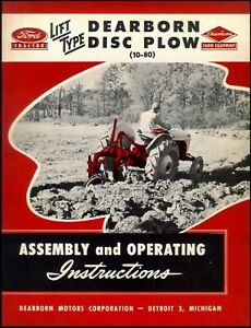 Ford Tractor 10 80 Disc Plow Assembly And Operating Instructions Ft36