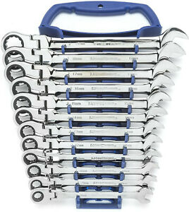 Gearwrench 9901d Metric Flex Head Combination Ratcheting Wrench Set 12pc 8 19mm