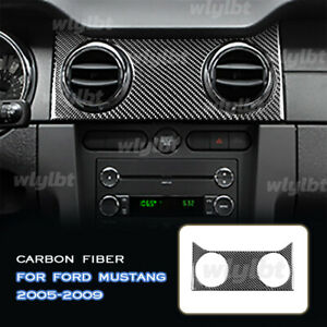 For Ford Mustang 2005 2009 Carbon Fiber Console Air Outlet Vent Panel Cover Trim
