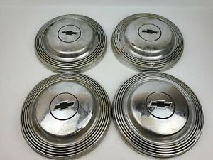 Vintage Chevrolet Chevy Bowtie Logo Silver Hubcaps 10 5 Lot Of 4