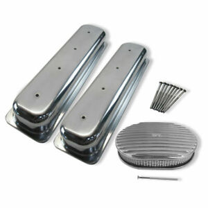 For Sbc Polishedvortec Short Valve Covers 12 X2 Oval Full Finned Air Cleaner