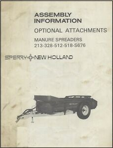 New Holland 213 328 512 518 S676 Manure Spreaders Optional Attachments Manual