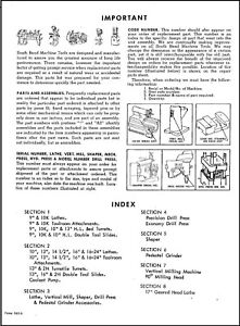 South Bend Lathe Parts List 9in 10in Partial 13in Parts Manual