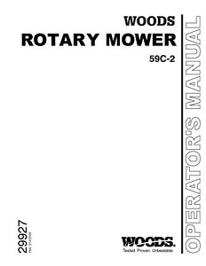 Woods Belly Mower Model 59c 2 Operators And Parts Manual Fits Farmall Cub On Cd