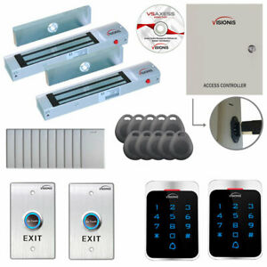 Visionis Two Door Access Control With Software Maglocks Keypad card Readers